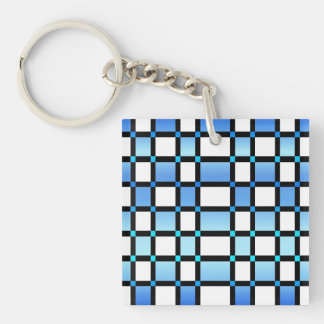 Modern Blue And Black Square Tiles Keychain