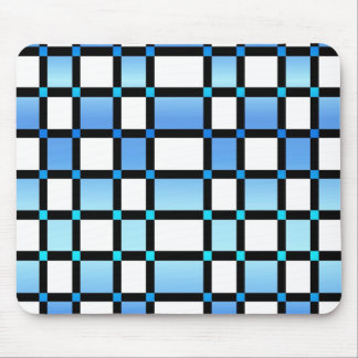Modern Blue And Black Square Tiles Mouse Pad