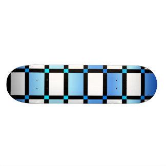 Modern Blue And Black Square Tiles Skateboard Deck