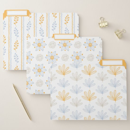 Modern Blue and Gold Retro Floral Leaves File Folder
