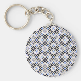 Modern Blue and Gray Confetti Squares Geo Pattern Keychain