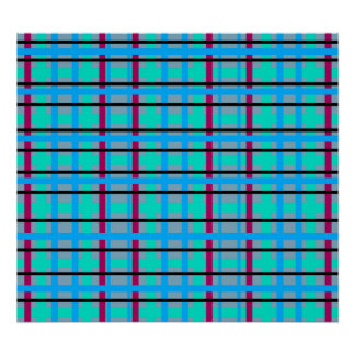 Modern blue and gray red green plaid poster