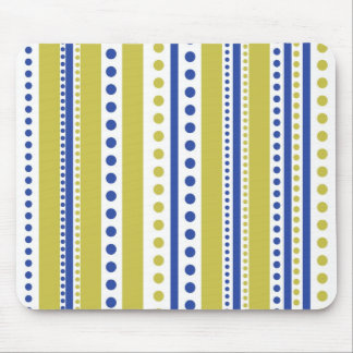 Modern Blue And Green Stripes And Dots Mouse Pad