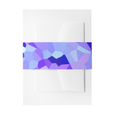 Modern Blue and Purple Stained Glass Pixel Mosaic Invitation Belly Band
