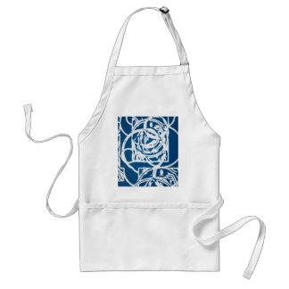 Modern Blue and White Abstract Design Adult Apron