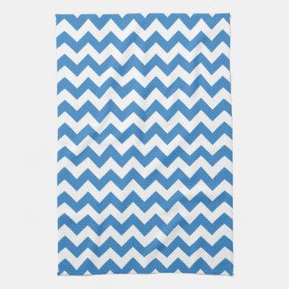 Modern Blue and White Chevron Zigzag Pattern Hand Towel