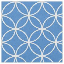 Modern Blue and White Circle Diamond Pattern Fabric