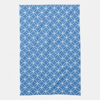 Modern Blue and White Circle Diamond Pattern Kitchen Towel