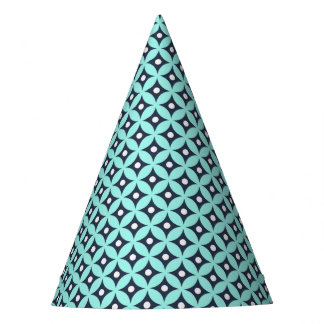 Modern Blue and White Circle Polka Dots Pattern Party Hat