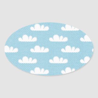 Modern Blue and White Clouds Oval Sticker