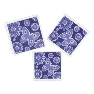 Modern Blue And White Floral Butterflies Acrylic Tray