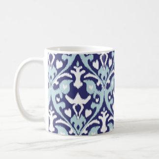 Modern blue and white girly ikat tribal pattern coffee mug