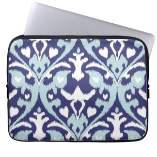 Modern blue and white girly ikat tribal pattern laptop computer sleeve