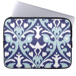 Modern blue and white girly ikat tribal pattern laptop sleeve