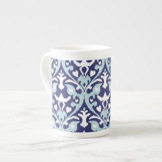 Modern blue and white girly ikat tribal pattern tea cup