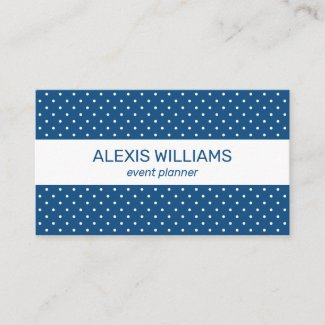 Modern Blue and White Polka Dots White Stripe Business Card