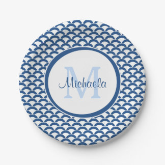 Modern Blue and White Scallops Monogram and Name Paper Plate