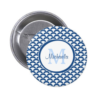 Modern Blue and White Scallops Monogram and Name Pinback Button