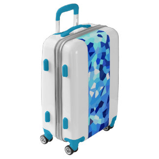Modern Blue and White Stained Glass Ocean Mosaic Luggage