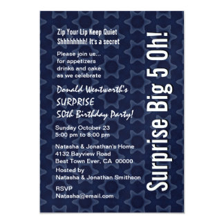 "Modern Blue and White Star Pattern Birthday Party 5"" X 7"" Invitation Card"