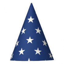 Modern Blue and White Star Pattern Party Hat