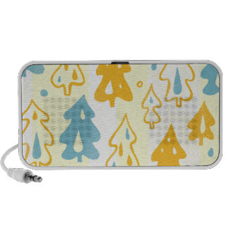 Modern Blue and Yellow Pine Trees Forest Pattern Travel Speakers