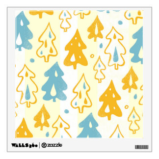 Modern Blue and Yellow Pine Trees Forest Pattern Wall Decal