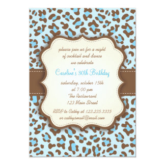 Modern Blue Animal Print Girly Birthday Party Personalized Invite
