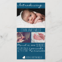 Modern Blue Baby Birth Announcement Photo Card