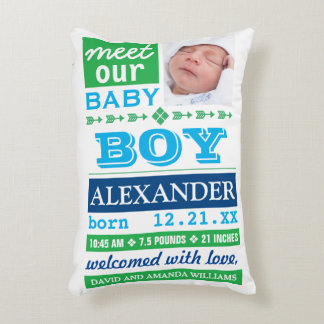 Modern Blue Baby Boy Photo Birth Announcement Accent Pillow