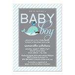 Modern Blue Baby Shower Boy Little Whale Mustache Card