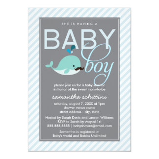 Modern Blue Baby Shower Boy Little Whale Mustache 5x7 Paper Invitation Card