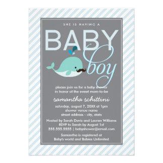 Modern Blue Baby Shower Boy Little Whale Mustache Custom Announcements