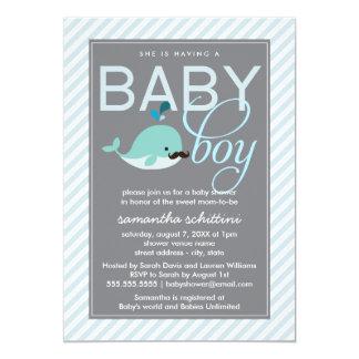 "Modern Blue Baby Shower Boy Little Whale Mustache 5"" X 7"" Invitation Card"