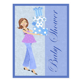 Modern Blue Baby Shower Post Card