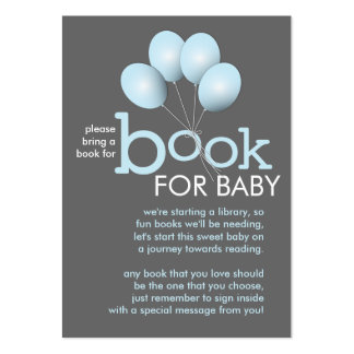 Modern Blue Balloon Baby Shower Book Insert Card Large Business Card