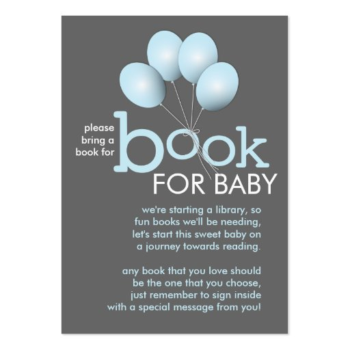 Modern Blue Balloon Baby Shower Book Insert Card Large Business Cards (pack Of 100)