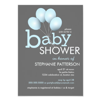 Modern Blue Balloon Boy Baby Shower Invitation