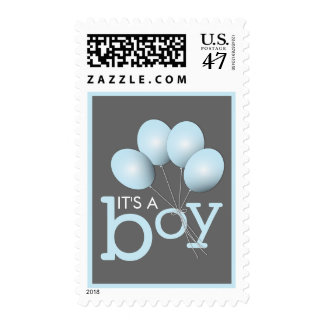 Modern Blue Balloon Boy Baby Shower Postage
