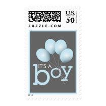 Modern Blue Balloon Boy Baby Shower Postage