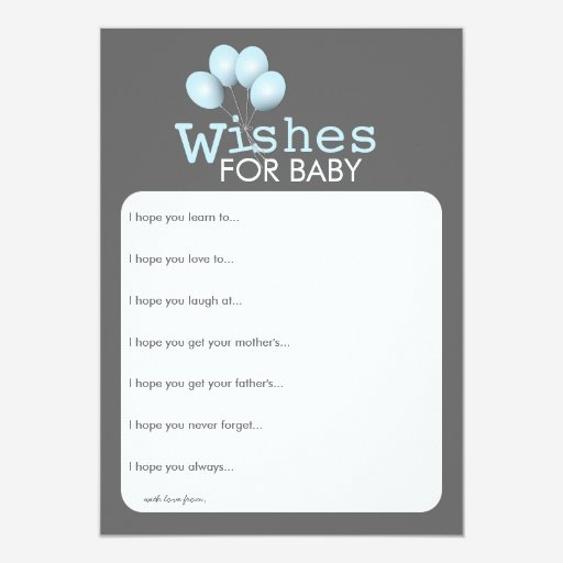 Custom baby shower game baby favors templates babyfavors4u modern blue balloon boy baby shower wishes card personalized invites pronofoot35fo Gallery