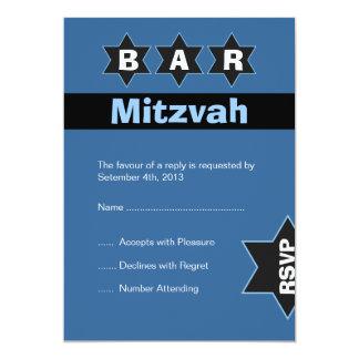 Modern Blue & Black Bar Mitzvah Stars RSVP Card