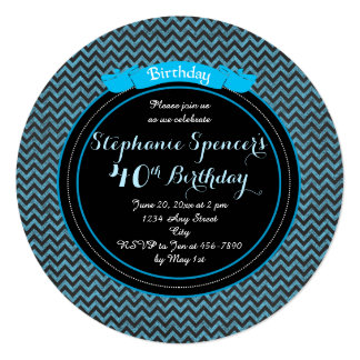 Modern Blue Black Chevrons Birthday Invitation