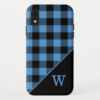 Modern Blue Black Gingham Plaid Pattern Monogram iPhone XR Case