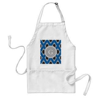 Modern blue black ikat tribal pattern monogram adult apron