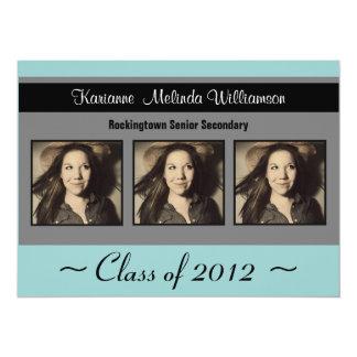 "Modern Blue Black Photo Graduation Announcement 5.5"" X 7.5"" Invitation Card"