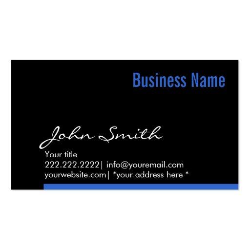 Modern Blue Bottom Border Dark Business Card