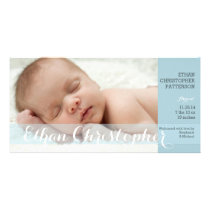 Modern Blue Boy Baby Birth Announcement Photocard