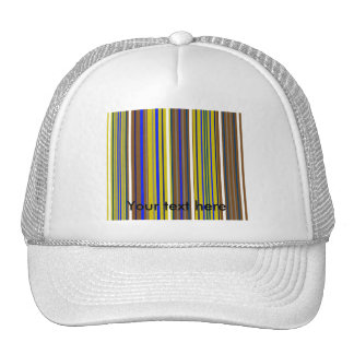 Modern blue brown and white stripes trucker hats