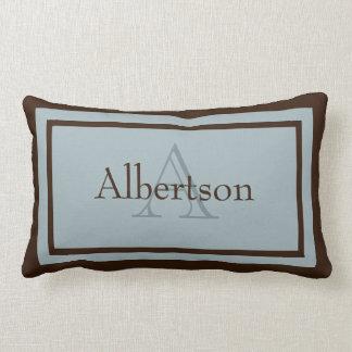 Modern Blue/Brown Monogram Name Keepsake Pillow